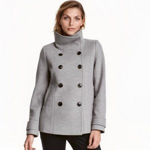 H&M Light Gray Double Breasted Peacoat Jacket